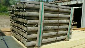 Tanalised Full Round Stake Fence Posts