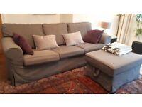 3-seater sofa & foot stool in dark grey