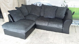 NEW/Graded Grey Chenille Fabric and Black Leather Corner Sofa Suite Free Local Delivery