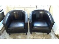 Black bonded leather tub chair x 2