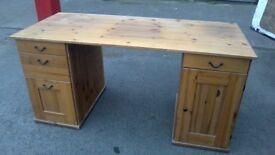 Large solid pine double pedestal desk