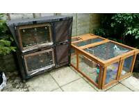 Bunny Business two tier rabbit hutch, waterproof cover and run