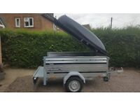 New Car trailer Brenderup KIPPI 200 TILT with extension sides and lockable Abs lid .