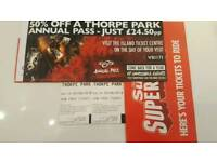 For sale 2 THORPE PARK Tickets £10 Only !!!