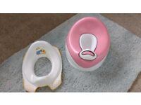 Potty with detachable unit and seat for toilet