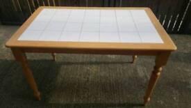 White tiled pine table