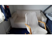 IKEA 2 SEATER SOFA AND POANG ARMCHAIR