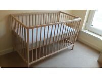 IKEA Baby Cot/Crib/Bed with mattress and two covers