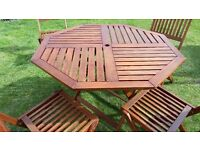 Wooden Garden Table and 4 Chairs Hardwood