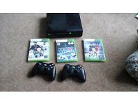 X box 360 with games including fifa16 plus handsets