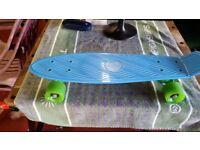 Retro Style Skateboard VGC Blue with Green Wheels Like Penny Board