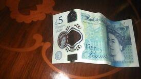 2x brand new 5 pound notes serial AC&AE