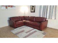 Ex-display Sisi Italia Parma chocolate brown leather corner sofa