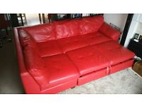 RED leather CORNER SOFA - home Antonio Leather/Leather Eff RIGHT Corner Sofa 695 @ ARGOS.