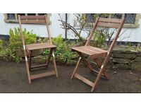 A Good Quality Pair of Outdoor/Garden/Patio Folding Hardwood Chairs/Seats