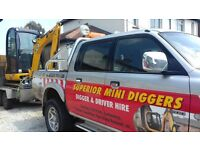 SUPERIOR MINI DIGGERS . DIGGER AND DRIVER HIRE FROM £195.00 PER DAY FULLY INCLUSIVE !!!!!!