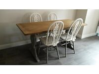 Oak refrectory table & 4 windsor backed dining chairs