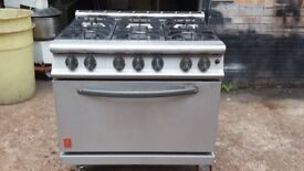 HEAVY DUTY COMMERCIAL FALCON NATURAL GAS COOKER 6 RING With OVEN, ORIGINAL FALCON DOMINATOR ON WHEEL