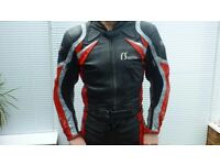 2 piece bike leather suit medium Red and Grey