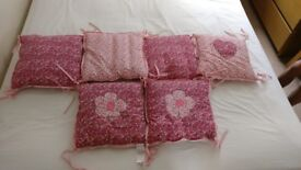 Baby girl pink cot bumper cushions