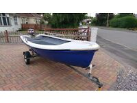 12 FOOT FISHING/PLEASURE/DAY BOAT - MARINER OUTBOARD AND SNIPE TRAILER