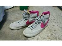 Pink and Grey Nike High Tops (Barely Worn) (Size 9)