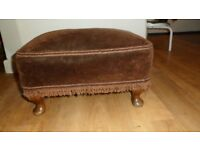 Brown Upholstered Footstool With Queen Ann Style Legs