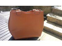 ZARA Large Oversized Tan Real Leather Bag Shopper.