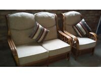 Cane Furniture - settee and chair