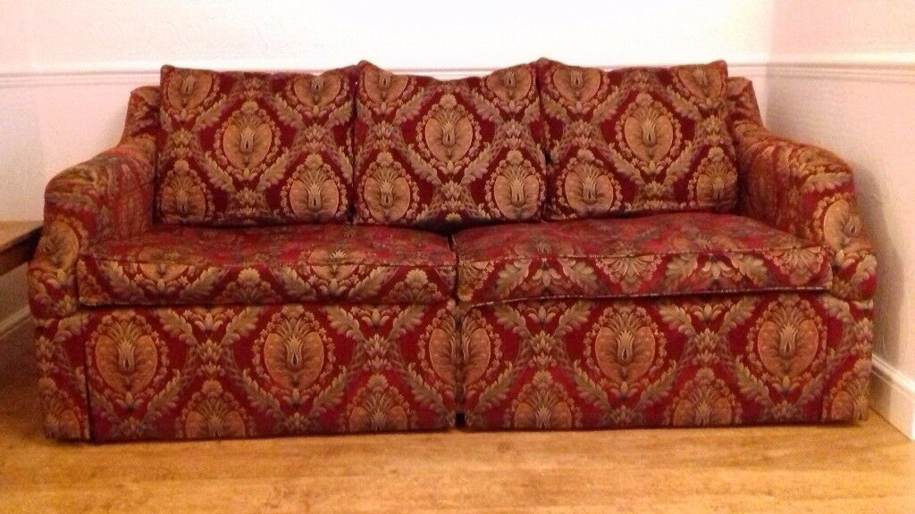 Stunning Unique Red Gold Damask Fabric Large Sofa In Very Good Condition