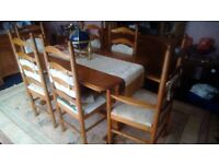 Dining room table and 6 chairs, corner cabinet, large wall cabinet and nest of 3tables