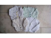 4 HAND KNITTED BABY CARDIGANS 0 - 3 months (EXCELLENT CONDITION)