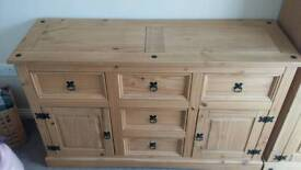 Mexican Pine sideboard with 5 drawers