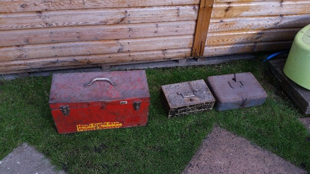 Old metal tool boxes