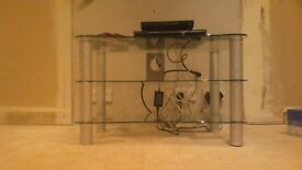 Large glass TV stand with 2 glass shelves