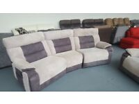 curve 4 seater sofa and single chair cord sofa both manual recliner