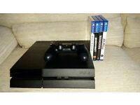PS4 in excellent condition with GTA5, original box, all wires, and an official dualshock controller