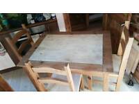 Mexican pine table plus 4 chairs upcycled