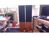 A PAIR OF DITTON A V SERIES FLOOR STANDING SPEAKERS & SPEAKER WIRE