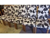 Six Black and White Floral Fabric Dining Chairs