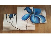 3 Section Blue Flower Canvas Picture