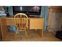 Solid Wood Desk with Drawers and Chair