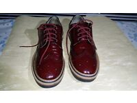 Mens Next Real Leather Glossy Burgundy Borges Size 9 / 43