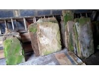 40 Authentic stone roof tiles assorted sizes all with peg hole 17/18th century.