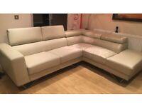 Left hand corner faux leather sofa in cream