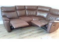 Brown Leather Recliner Corner Unit and Armchair