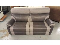 NEW SCS RALPH 3 SEATER MANUAL RECLINER SOFA 2 TONE GREY Viewing Collection Kirkby NG17 Can Deliver