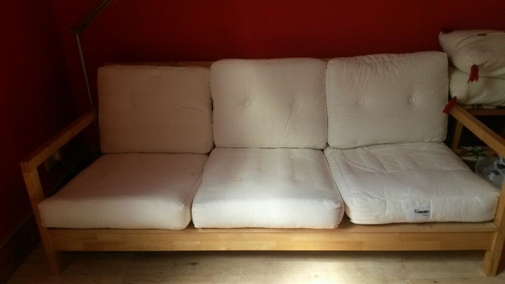 ikea lillberg sofa basic wood frame and cushions no covers small crack