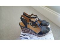 Brand New Navy Patent Wedge Heeled Sandals