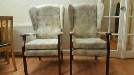 2 Arm rest and wing fireplace chairs